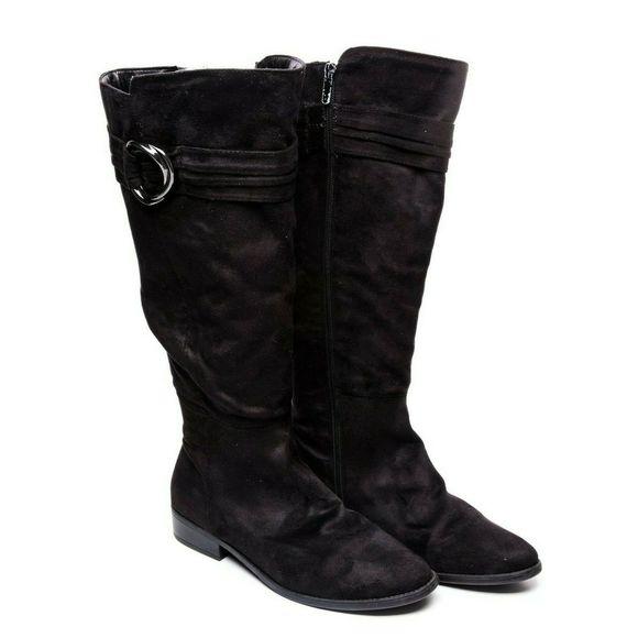 Black Bayla Wide Calf Knee High Boots